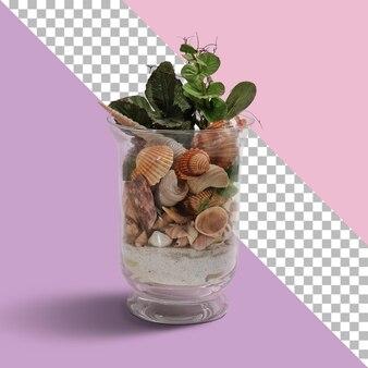 Geïsoleerde kristallen pot met vol schelpen