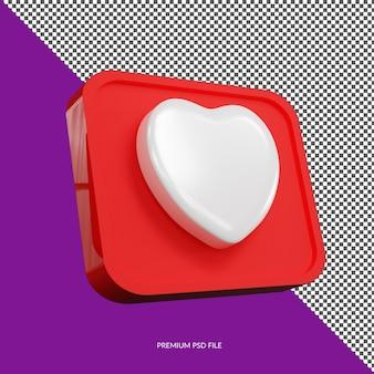 Geïsoleerde liefde minimalistische 3d button icon badge