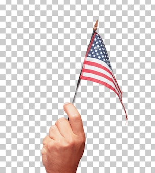 Geïsoleerde mannelijke hand die een vlag van de vs houdt