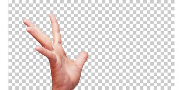 Geïsoleerde mannelijke hand greep gebaar