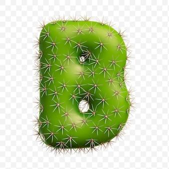 Geïsoleerde psd-bestand 3d render van alfabet letter b gemaakt van groene cactus