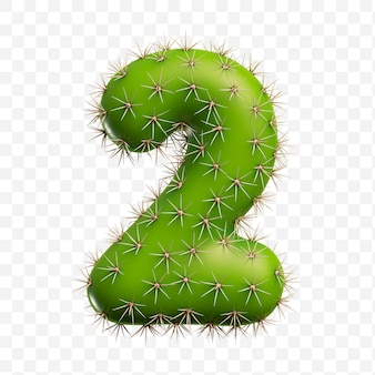 Geïsoleerde psd-bestand 3d render van alfabet nummer 2 gemaakt van groene cactus