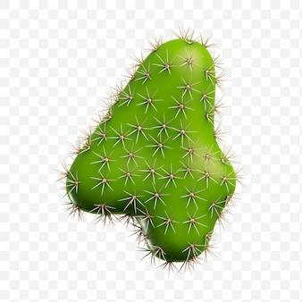 Geïsoleerde psd-bestand 3d render van alfabet nummer 4 gemaakt van groene cactus