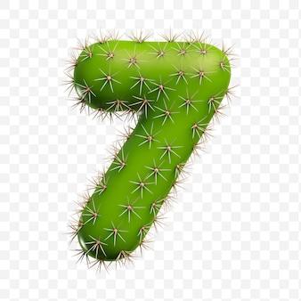 Geïsoleerde psd-bestand 3d render van alfabet nummer 7 gemaakt van groene cactus