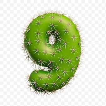 Geïsoleerde psd-bestand 3d render van alfabet nummer 9 gemaakt van groene cactus