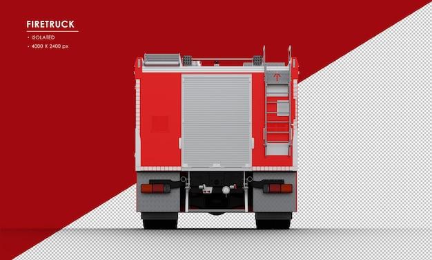 Geïsoleerde rode brandweerwagen van achteraanzicht