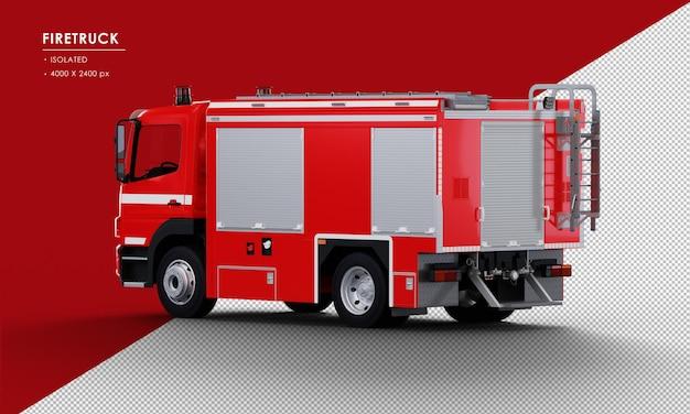 Geïsoleerde rode brandweerwagen van links achteraanzicht