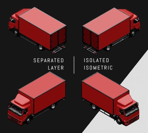 Geïsoleerde rode doos vrachtwagen isometrische auto set