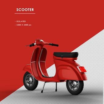 Geïsoleerde rode scooter van links achteraanzicht