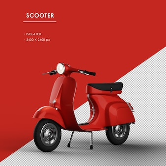 Geïsoleerde rode scooter van links vooraanzicht