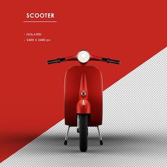 Geïsoleerde rode scooter van vooraanzicht