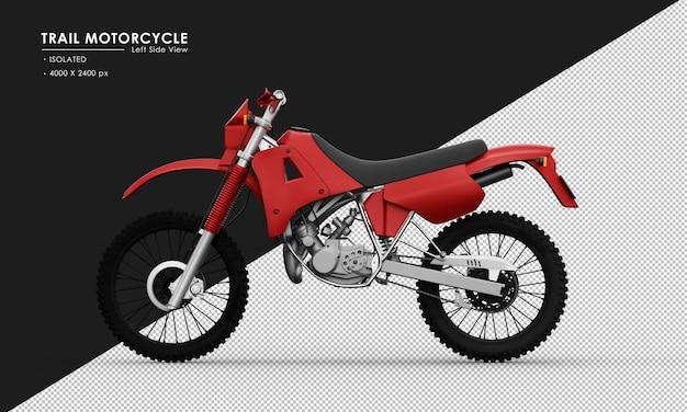 Geïsoleerde rode sleepmotorfiets van linker zijaanzicht