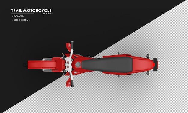 Geïsoleerde rode trail motorfiets van bovenaanzicht