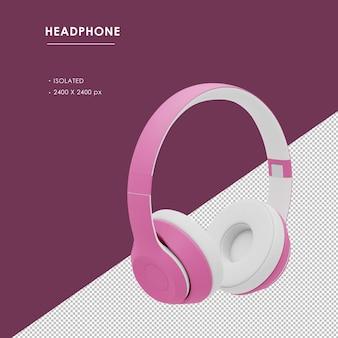 Geïsoleerde roze draadloze koptelefoon van rechts vooraanzicht