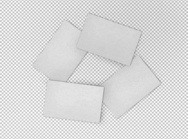 Geïsoleerde set van vier witte visitekaartjes