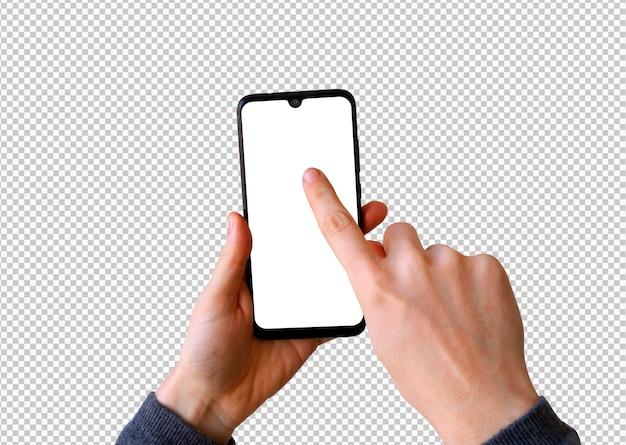 Geïsoleerde smartphone met vinger