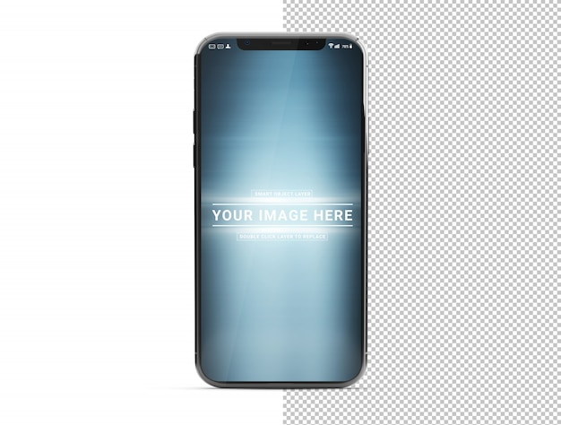 Geïsoleerde uitgesneden moderne smartphone met schaduw op wit mockup