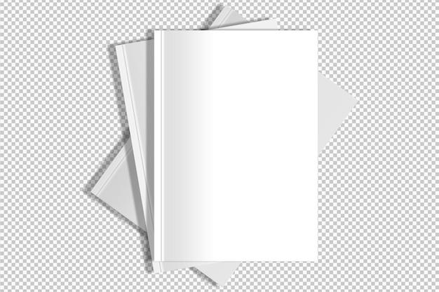 Geïsoleerde verzameling van drie witte boeken