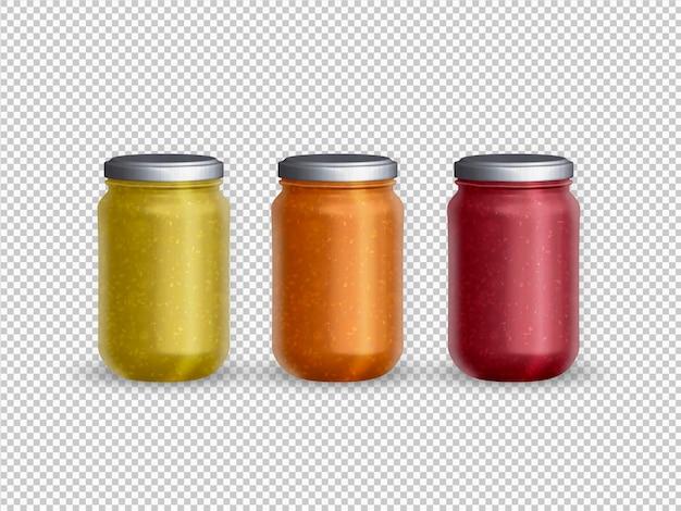 Geïsoleerde verzameling van gevulde glazen pot