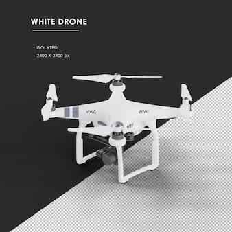 Geïsoleerde witte drone van boven links vooraanzicht