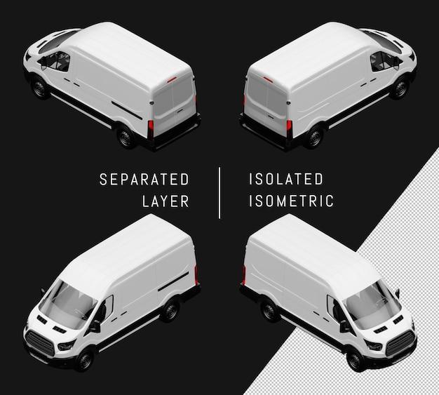 Geïsoleerde witte generieke bestelwagen isometrische autoset