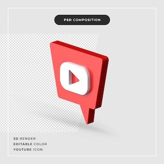 Geïsoleerde youtube 3d-rendering pictogram
