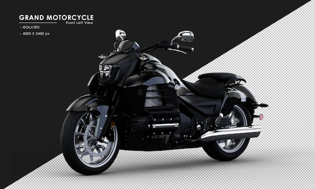 Geïsoleerde zwarte grand motorcycle in 3d-rendering