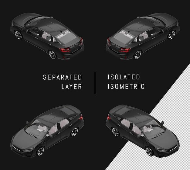 Geïsoleerde zwarte sport elegante sedan isometrische autoset