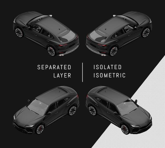 Geïsoleerde zwarte sport elegante suv isometrische autoset