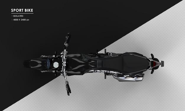 Geïsoleerde zwarte sportfiets van bovenaanzicht