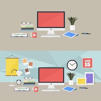 Gekleurde werkplekken ontwerp