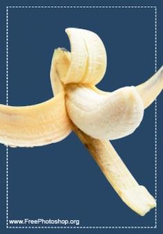 Gele banaan met schil psd