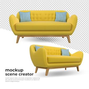 Gele bank in woonkamerdecoratie