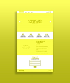 Gele bestemmingspagina-mockup
