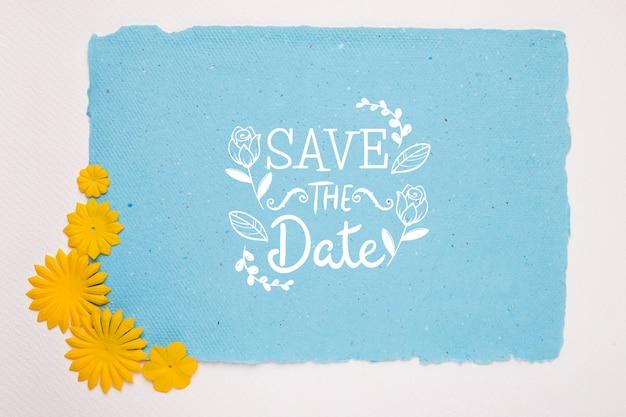 Gele bloemen bewaren het datummodel