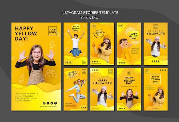 Gele dag concept instagram verhalen sjabloon