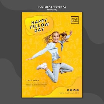 Gele dag concept poster sjabloon