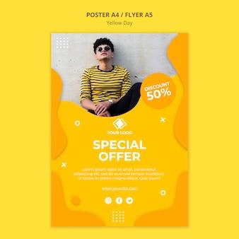 Gele dag speciale aanbieding poster sjabloon