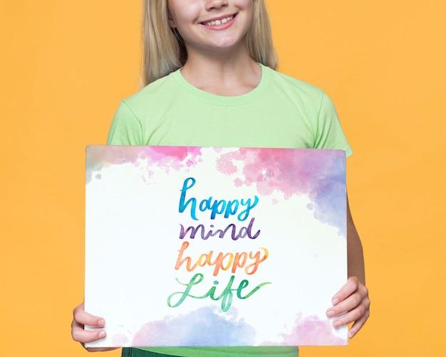 Gelukkig geest gelukkig leven schattig jong meisje