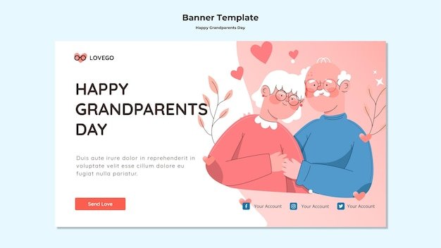 Gelukkig grootouders dag banner thema