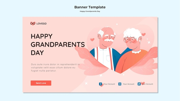 Gelukkig grootouders dag banner