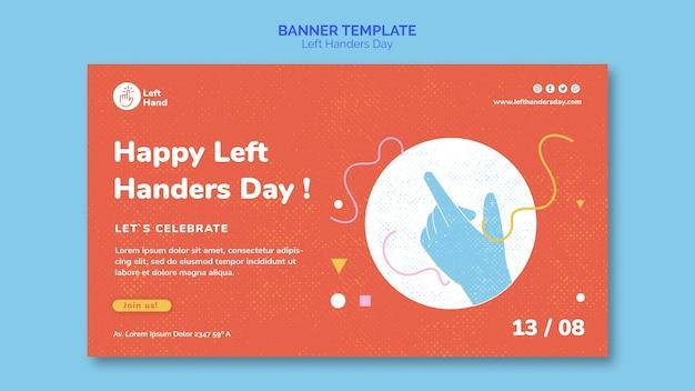 Gelukkig linkerhanders dag sjabloon voor spandoek