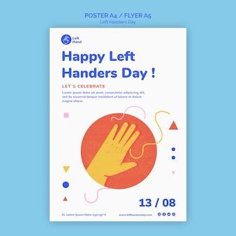 Gelukkig linkshandigen dag flyer-sjabloon