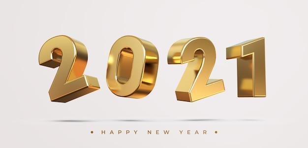 Gelukkig nieuw jaar 2021 met weergave van 3d-objecten