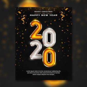 Gelukkig nieuwjaar 2020 flyer-sjabloon premium psd