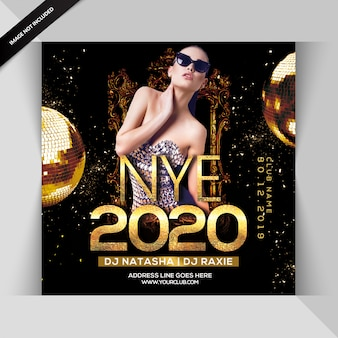 Gelukkig nieuwjaar 2020 nachtfeest flyer