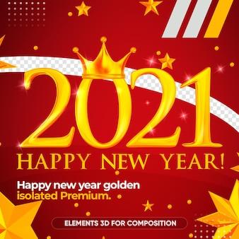 Gelukkig nieuwjaar 2021 gouden weergave