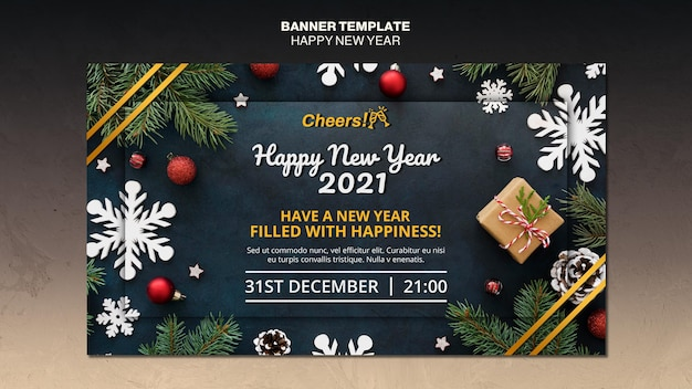 Gelukkig nieuwjaar 2021 sjabloon voor spandoek