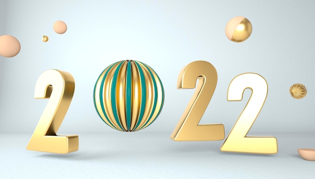 Gelukkig nieuwjaar 2022. 3d-nummers met geometrische vormen en kerstbal. 3d render.