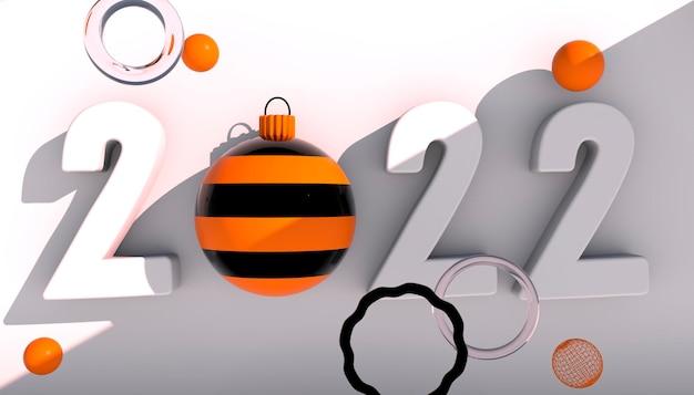 Gelukkig nieuwjaar 2022. 3d-nummers met geometrische vormen en kerstbal op een witte achtergrond. 3d render.